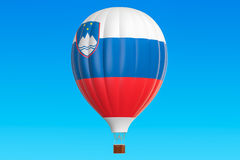Hot air balloon with Slovenian flag, 3D rendering Stock Photo