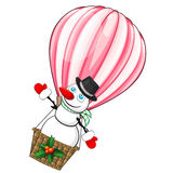 Hot air balloon with snowman Royalty Free Stock Image