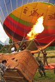 Hot air balloon start in vang vieng. Balloon over Song river in Vangvieng, Vang Vieng is a tourist attraction town in northern Laos Stock Photo