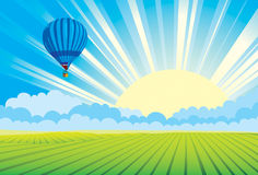 Hot air balloon  sundown Stock Image