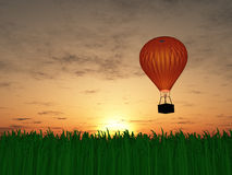 Hot air balloon sunset Stock Photo