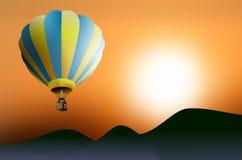 Hot air balloon at sunset Stock Image