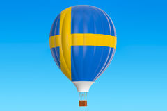 Hot air balloon with Sweden flag, 3D rendering. Hot air balloon with Sweden flag, 3D Royalty Free Stock Photography