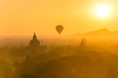 Hot Air Balloon and The Temples of Bagan. Royalty Free Stock Images