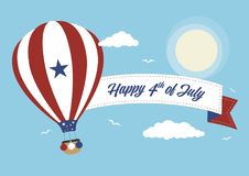 Cartoon 4th July Hot Air Balloon. A hot air balloon with 4th July banner Royalty Free Illustration
