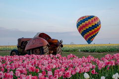 Hot Air Balloon with Tractor Stock Photography