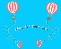 Hot air balloon Travel. Aerial entertainment touch the sky. Vacation concept, tourism, travel dotted points. Vector. stock illustration
