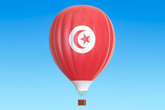 Hot air balloon with Tunisia flag, 3D rendering Royalty Free Stock Images