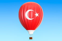 Hot air balloon with Turkey flag, 3D. Rendering Royalty Free Stock Photography