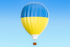 Hot air balloon with Ukraine flag, 3D rendering. Hot air balloon with Ukraine flag, 3D Stock Photography
