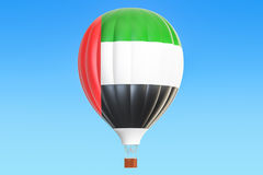 Hot air balloon with United Arab Emirates flag, 3D rendering. Hot air balloon with United Arab Emirates flag, 3D Stock Photo