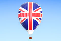 Hot air balloon with United Kingdom flag, 3D rendering Royalty Free Stock Image
