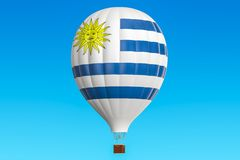 Hot air balloon with Uruguay flag, 3D rendering. Hot air balloon with Uruguay flag, 3D Royalty Free Stock Photos