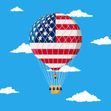 Hot air balloon with USA flag Stock Photography