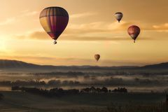 Hot Air, Balloon, Valley, Sky Royalty Free Stock Image