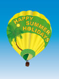 Hot air balloon vector. Ilustration of an hot air ballon with text happy summer holidays, in a blue sky Royalty Free Stock Photos