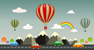 Hot air balloon with view highway Royalty Free Stock Photo