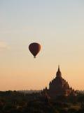 Hot air balloon was over plain of Bagan Stock Photo