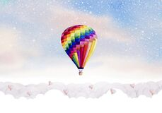 Hot air balloon watercolor painting colorful on sky cloud background