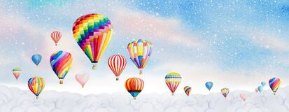 Hot air balloon watercolor painting landscape panorama illustration on paper