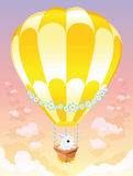Hot air balloon with white bunny. Stock Images