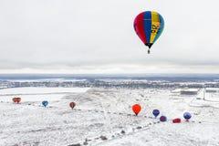 Hot air balloon in winter stock photos