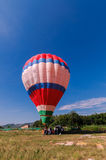 Hot air balloon workers Stock Photo