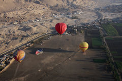 Hot air ballooning. Luxor Egypt, aerial shot stock images