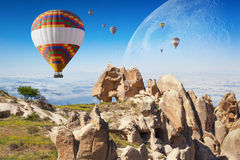 Hot air ballooning in Cappadocia, Turkey Stock Photos