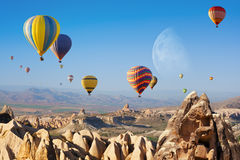 Hot air ballooning in Cappadocia, Turkey. Royalty Free Stock Photography
