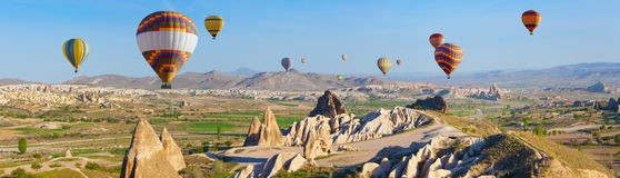 Hot air ballooning in Cappadocia, Turkey Stock Photos