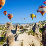Hot air ballooning is most popular attraction in Kapadokya near Royalty Free Stock Images