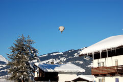 Hot Air Ballooning over Austria. Image of a hot air balloon in the Austrian Alps Royalty Free Stock Image