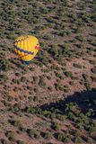 Hot air ballooning over sedona Arizona. Over red mountains stock images