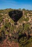 Hot air ballooning over sedona Arizona showing balloon and butte. Hot air ballooning over Sedona Arizona showing red mountains and buttes also you can see stock images