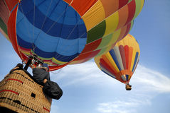 Hot air balloons 2. Balloonists following up another hot air balloon stock photo