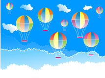Hot air balloons. Rendered illustration of colourful hot air ballons flying over the clouds Royalty Free Stock Photo