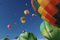 Hot Air Balloons. In air at Albuquerque Int'l Balloon Festival Royalty Free Stock Photography