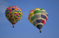 Hot Air Balloons. Colorful hot air balloons flying in sky Stock Photos