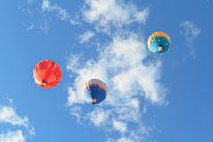 Hot air balloons. Colorful hot air balloons over blue sky Royalty Free Stock Photography