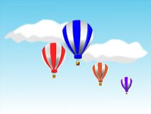 Hot Air Balloons. Colorful illustration of hot air balloons against blue sky and clouds Royalty Free Stock Images