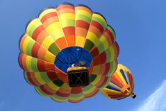 Hot air balloons 4. Two colorful hot air balloons flying high in the sky stock photos