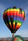 Hot air balloons. In air and on ground Royalty Free Stock Images