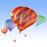 Hot air balloons. 3d illustration of hot air balloons from middle Stock Photo