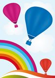 Hot Air Balloons. Sky with rainbow and hot air balloons Stock Photos