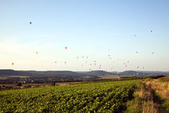 Hot air balloons above the Mosel valley Stock Photography