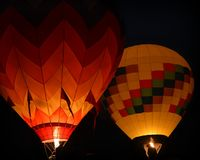 Hot Air Balloons Aglow Stock Photo