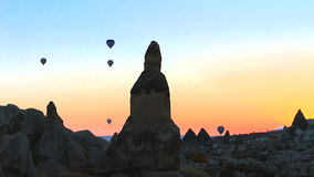 Hot air balloons ascending in the morning stock footage