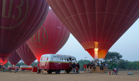 Hot air balloons in Bagan, Myanmar Stock Photos