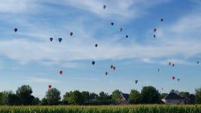 Hot air balloons. A beautiful display of hot air balloons stock photo